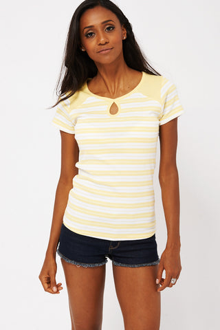 Yellow Striped T-shirt -Yellow-UK 14 - EU 42