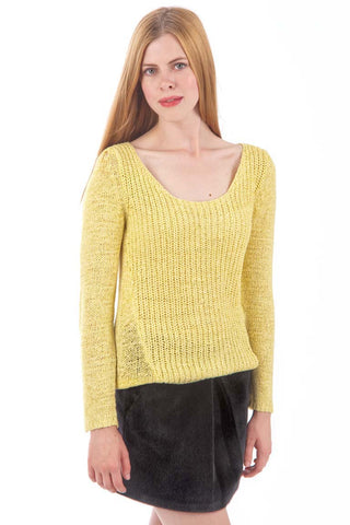 Yellow Scoop Neckline Knitted Jumper-Yellow-UK 6-8  - EU 34-36