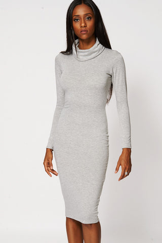 Grey Cowl Neck Fitted Dress-Grey-UK 16 - EU 44