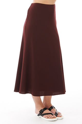 Long Elegant Swing Skirt-Burgundy-UK 16 - EU 44