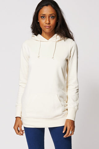 Beige Kangaroo Pocket Hooded Jumper-Beige-L
