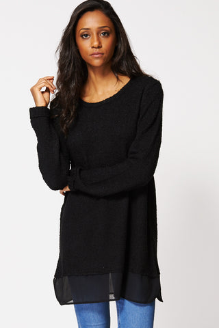 Black Textured Sheer Hem Jumper Ex-Branded-Black-14