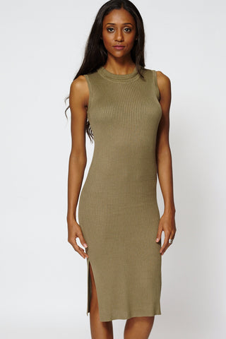 Ribbed Sleeveless Tunic Dress Ex-Branded -Khaki-L
