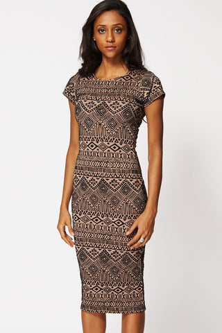 Textured Aztec Mix Print Bodycon Dress Ex-Branded-Mocha-12