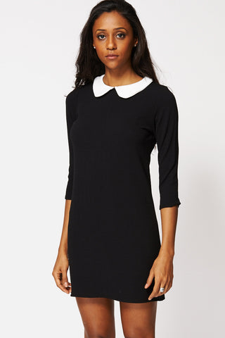 Textured Peter Pan Collar Tunic Dress Ex-Branded-Black-12