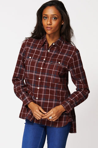 Checkered Button Up Shirt Ex-Branded In Burgundy-Burgundy-XS