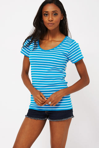 Blue Striped T-shirt  Ex-branded Available in Plus Sizes -Blue -UK 16 - EU 44