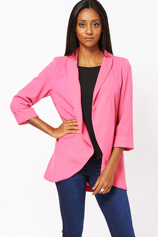 Fuchsia Lightweight Textured Jacket Available in Plus Sizes-Fuchsia-UK 12 - EU 40