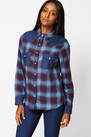 Checked Shirt with Denim Detail Available in Plus Sizes-Blue -UK 6 - EU 34