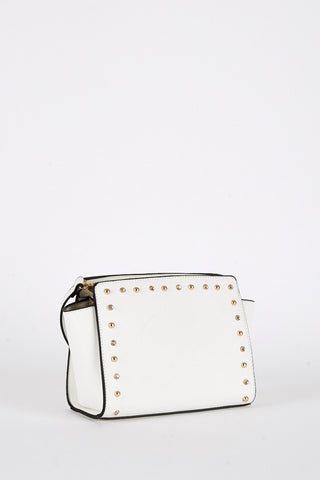 Off White Faux Leather Studded Crossbody Handbag-Off White
