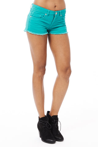 Denim Shorts-Green-UK 6 - EU 34