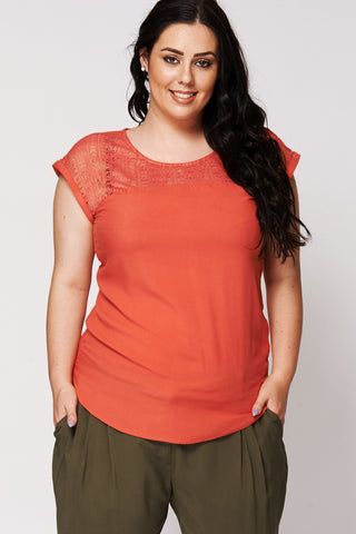 Sleeveless Top With Crochet Detail Ex-Branded-Burnt Orange-UK 26 - EU 54