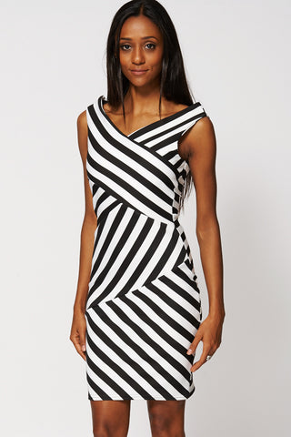 Black And White Striped Bodycon Dress-Black-XS