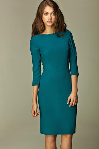 Teal Blue 3/4 Inch Sleeve Knee Length Business Dress