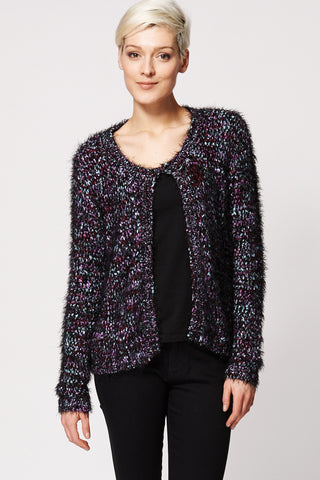 Fluffy Multi Coloured Knitted Cardigan-Multi-24/26