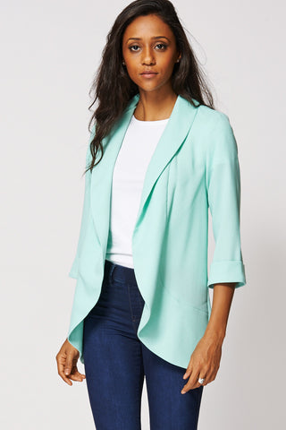 Textured Shawl Collar Blazer In Mint-Green-16