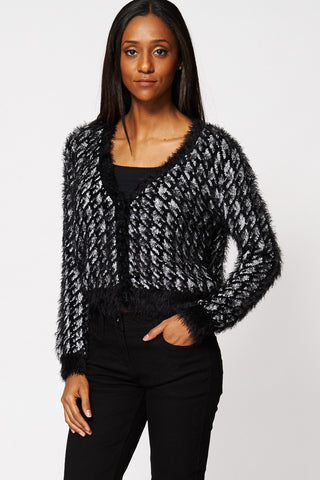 Houndstooth Fluffy Crop Cardigan Ex-Branded-Silver-10