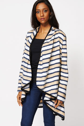Stripe Fine Knit Waterfall Open Cardigan-Multi-14