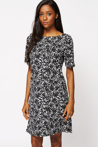 Black And White Print Textured Shift Dress Ex-Branded-Black/White-UK 14 - EU 42