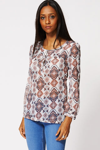 Aztec Mixed Print Sheer Blouse Ex-Branded-Multi-16