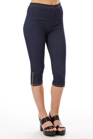 Cropped Jeggings with Zip Detail-Blue -One Size - UK (8-12)