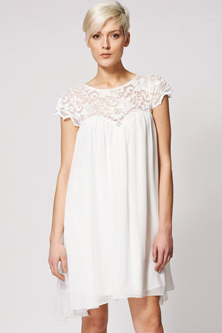 Lace Top Swing Dress Ex-Branded-Cream-16