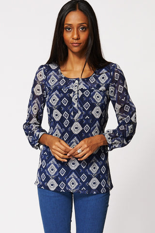 Aztec Mixed Print Sheer Blouse In Navy Ex-Branded-Blue -16