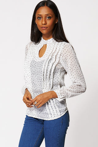 Sheer Polka Dot Blouse Ex-Branded-Cream-14