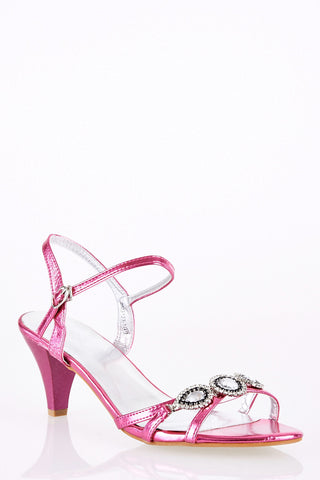 Large Size Elegant Sandal with Jewel and Diamante Detail-Pink-UK 8 - EU 41