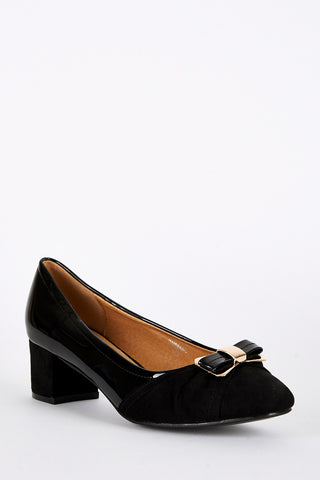 Large Size Block Heel Patent and Faux Suede Shoe-Black-UK 9 - EU 42