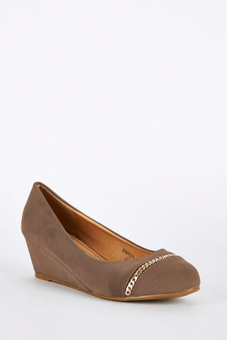 Large Size Mocha Wedge Shoes with Chain Detail-Mocha-UK 10 - EU 43