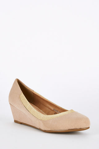 Large Size Faux Suede Wedge Shoes-Beige-UK 10 - EU 43