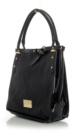 Black Handbag with Gold Accents