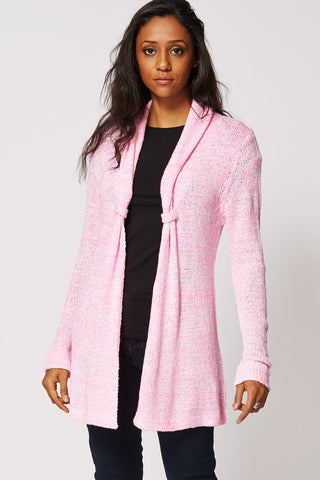 Pink Loose Knit Open Cardigan Ex-Branded-Pink-L