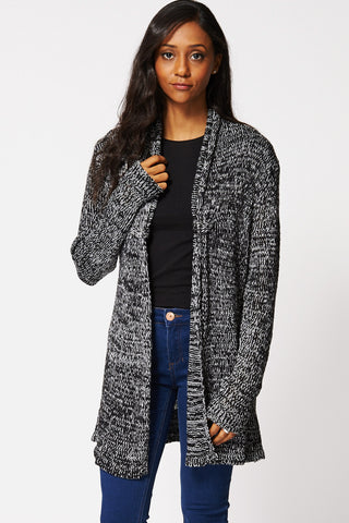 Monochrome Loose Knit Open Cardigan Ex-Branded-Black-L