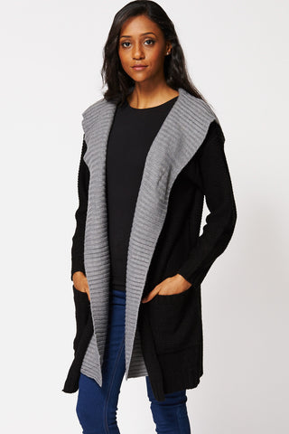 Two Tone Knitted Long Hooded Cardigan-Black-12