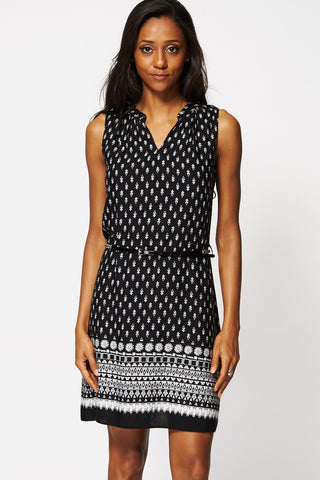 Ethnic Print Belted Shift Dress -Black-10