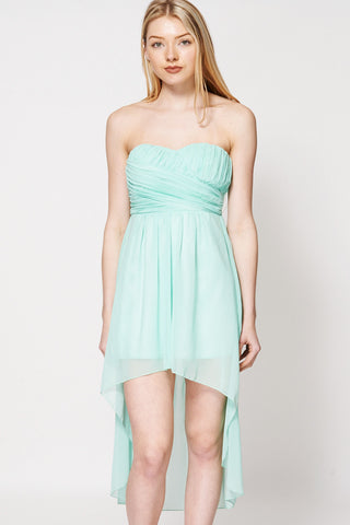 Pleated Top Dipped Hem Strapless Cocktail Dress-Green-L