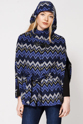 Batwing Zig Zag Print Cotton Blend Hooded Poncho Cape-Multi-L