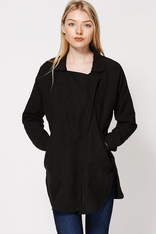 Batwing Rounded Hem Long Jacket-Black-M/L