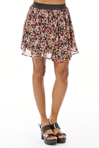 Chiffon Floral Print Skater Skirt-Black-UK 12 - EU 40