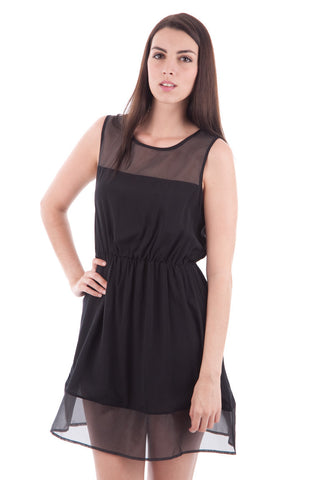 Sleeveless Organza Detail Dress-Black-UK 12 - EU 40