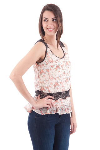 Sleeveless Floral Blouse with Frill and Lace Detail-Cream-UK 12 - EU 40