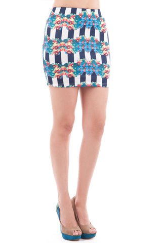 Flower and Striped Stretch Mini Skirt-Floral-UK 10 - EU 38