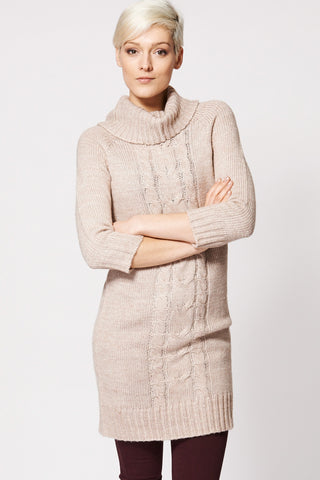Beige Cable Knit 3/4 Sleeve Dress-Beige-XL