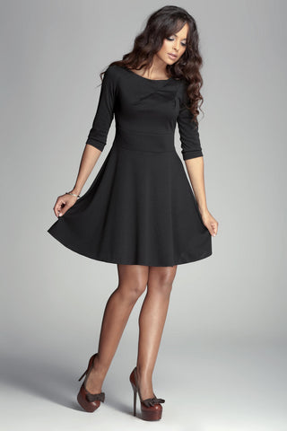 Black 3/4 Inch Sleeve Flared Dress