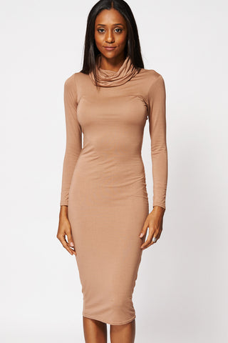 Cowl Neck Bodycon Midi Dress Ex-Branded-Brown-16