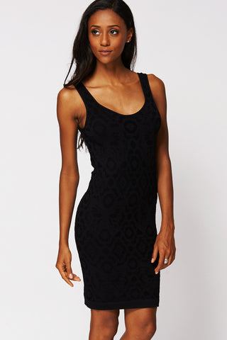 Black Bodycon Dress with Laser Cut Pattern-Black-Small - UK (6-8)
