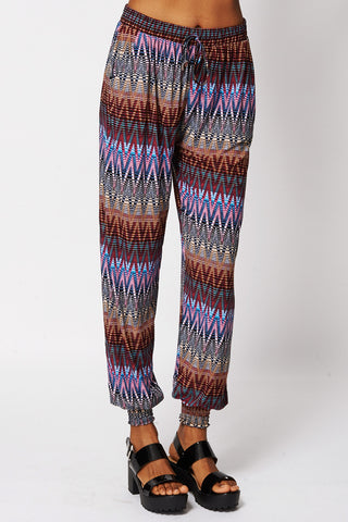 Zig Zag Print Harem Trousers -Multi-XL/XXL - UK (12-14)