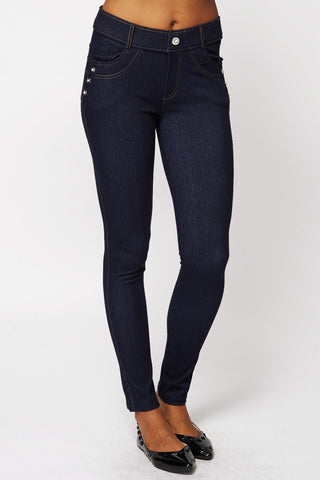 Diamante Studded Detail Jeggings with Belt Loop and Pockets-Navy-M/L - UK (8-10)